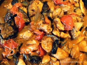Binagoongan Chicken with Eggplant